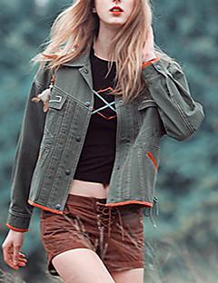 Aporia.As Women's Holiday Boho Fall Jackets,Solid Shirt Collar Long Sleeve Green / Orange Cotton Medium