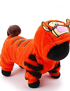 Cat Dog Costume Clothes/Jumpsuit Orange Dog Clothes Winter Spring/Fall Cartoon Cute Holiday Cosplay