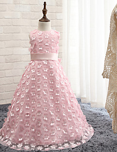 A-line Floor-length Flower Girl Dress - Rayon Sleeveless Jewel with Bow(s)