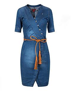 Women's Asymmetrical Simple Street chic Solid Ruched Casual Plus Size Slim Hin Thin Sheath V Neck Denim Dress