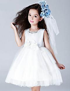 גזרת A באורך  הברך שמלה לנערת הפרחים - כותנה / סאטן / טול ללא שרוולים עם תכשיטים עם