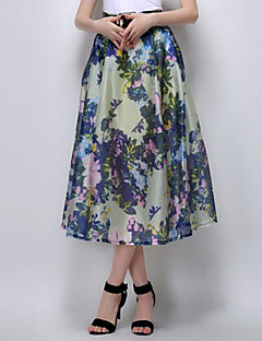 Women's Floral Blue / Yellow Skirts,Street chic Midi