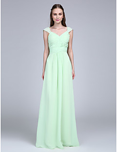 Lanting Bride® Floor-length Chiffon Bridesmaid Dress Sheath / Column V-neck with Buttons / Draping / Sash / Ribbon / Criss Cross / Ruching