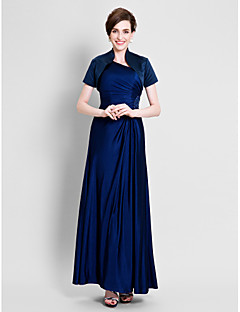 Sheath/Column Mother of the Bride Dress - Ankle-length Short Sleeve Satin / Jersey