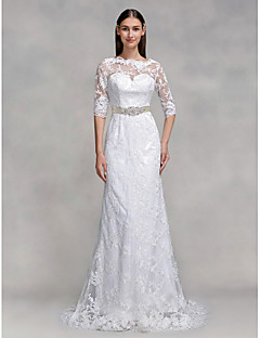 Lanting Bride® Trumpet / Mermaid Wedding Dress Sweep / Brush Train Bateau Lace with Lace
