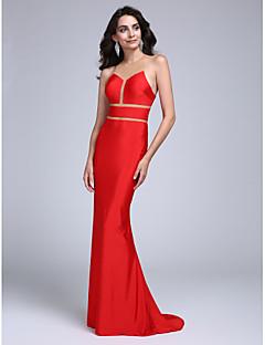 Formal Evening Dress Trumpet / Mermaid Jewel Sweep / Brush Train Jersey with