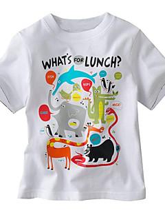 Guttens Fritid/hverdag T-skjorte Dyremønster Bomull Sommer Grønn / Hvit / Gul / Grå