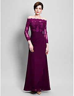 Sheath / Column Mother of the Bride Dress Floor-length Chiffon / Tulle with Appliques / Side Draping / Ruching