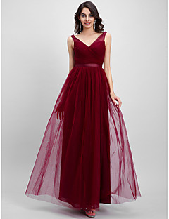 Ankle-length Tulle Bridesmaid Dress A-line V-neck with Criss Cross