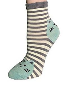Women Cotton Print Cat Striped Cute Medium Socks More Colors Can Available