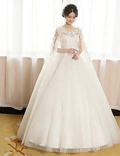 Princess Wedding Dress Watteau Train Scoop Tulle with Beading / Flower / Lace