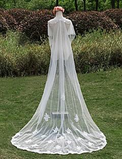 Свадебные вуали Один слой Фата для венчания Кружевная кромка Отделка жемчугом Кружево Белый