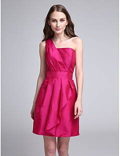 Lanting Bride® Short / Mini Taffeta Bridesmaid Dress A-line One Shoulder with Ruffles / Side Draping