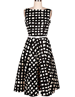 Women's Casual/Daily Vintage Loose Dress,Print Boat Neck Knee-length Sleeveless Black Cotton Summer