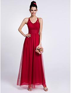 2017 Lanting bride® kotník-délka krajka / tyl družička šaty - plášť / sloupec ohlávka s krajkou