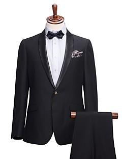 Costumes Coupe Slim Col Châle Droit 1 bouton Viscose Couleur Pleine 2 Pièces Noir Poche Plaquée Aucun (Plat) Noir Aucun (Plat)Boutons /