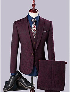 Suits Slim Fit Notch Single Breasted One-button Polyester/Rayon(T/R) 3 Pieces Straight Flapped Single (One) Single (One)