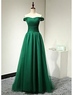 포멀 이브닝 드레스 A-라인 오프 더 숄더 바닥 길이 튤 / 스트래치 새틴 와 주름