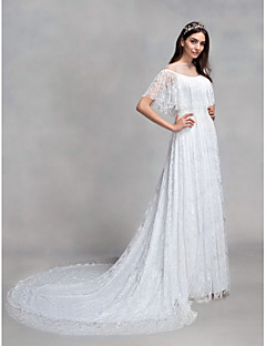 Lanting Bride A-line Wedding Dress Court Train Bateau Lace with Lace