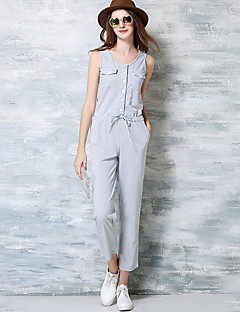 Women's Patchwork Elasticity Breathe Freely  Jumpsuits,Simple / Street chic Round Neck Short Sleeve