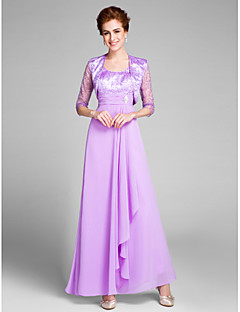 Lanting Bride® Sheath / Column Mother of the Bride Dress Ankle-length 3/4 Length Sleeve Chiffon with Crystal Detailing / Ruching