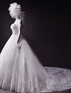 Ball Gown Wedding Dress Court Train Off-the-shoulder Tulle with Appliques / Beading / Crystal
