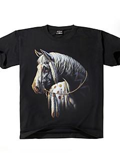 Men's 3D Short-sleeved Horse Animal Pattern Cotton O- Neck T-shirts