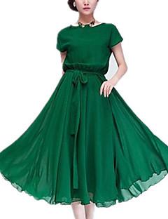 Dame Simpel I-byen-tøj Chiffon Swing Kjole Ensfarvet,Rund hals Midi Uden ærmer Sort Grøn Polyester Sommer Alm. taljede Uelastisk Tynd