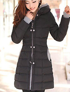Women's Solid Black Padded Coat,Simple / Street chic Hooded Long Sleeve