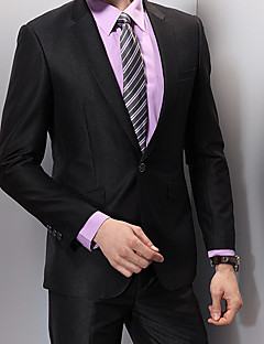 Obleky Standard Otevřené Jednořadé s jedním knoflíkem Viskóza Jednobarevné 1 js Černá Šikmé s klopou Žádný (rovné nohavice) ČernáŽádný