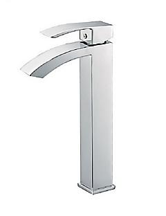 現代風 洗面ボウル 滝状吐水タイプ 回転可 with  セラミックバルブ シングルハンドルつの穴 for  クロム , バスルームのシンクの蛇口