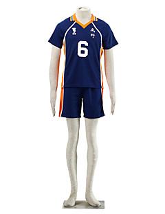 Inspiriert von Haikyuu Ukai Keishin Anime Cosplay Kostüme Cosplay Kostüme Einfarbig Blau / Orange Kurze Ärmel T-Shirt-Ärmel / Kurze Hosen