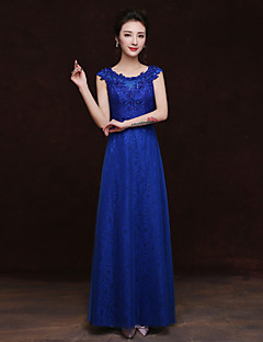Floor-length Lace Bridesmaid Dress Sheath / Column Scoop with Appliques