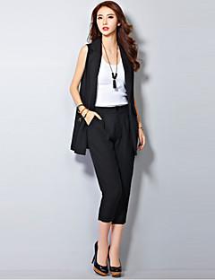 Uden ærmer Krave Medium Kvinders Hvid / Sort Ensfarvet Forår / Sommer Street I-byen-tøj Suits,Hør