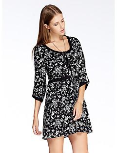Damen Hülle Kleid-Ausgehen Einfach Blumen Rundhalsausschnitt Übers Knie ¾-Arm Schwarz Polyester Sommer