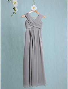 Lanting Bride® Floor-length Chiffon Junior Bridesmaid Dress Sheath / Column V-neck with Side Draping