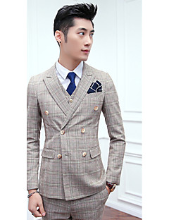 Suits Slim Fit Notch Double Breasted Two-buttons Cotton Checkered / Gingham 3 Pieces Straight Flapped None Gray