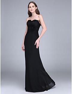 Lanting Bride® Traîne Brosse Mousseline de soie Robe de Demoiselle d'Honneur  Fourreau / Colonne Sans Bretelles avecFleur(s) / Dentelle /