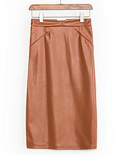 Damen Röcke - Einfach / Street Schick Übers Knie Polyester Mikro-elastisch