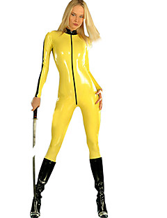Women's Elegant Yellow PVC Catsuit Shiny Jumpsuit Cosplay Costume