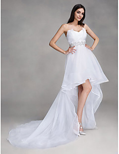 Lanting Bride A-line Wedding Dress Asymmetrical Sweetheart Organza with Crystal