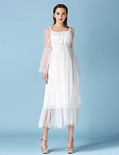 Mulheres Bainha / Chifon Vestido,Casual Sensual Sólido Decote Canoa Médio Manga Longa Branco Algodão / Poliéster Todas as Estações