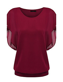 Women's Going out Simple / Boho Summer Blouse,Solid Round Neck Short Sleeve Blue / Red / Black Polyester Thin