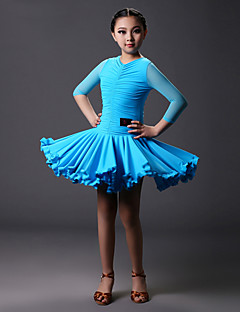 Latin Dance Dresses Children's Training Tulle / Viscose Pleated 1 Piece Red / Sky blue