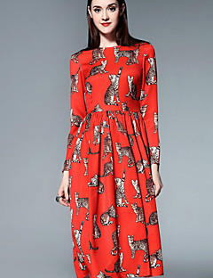 Mary Yan & Yu  Women's Casual/Daily Cute A Line Dress,Print Round Neck Midi ¾ Sleeve Red Cotton Summer