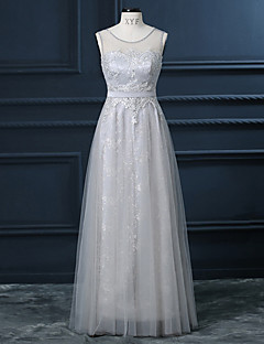 Floor-length Lace / Silk Bridesmaid Dress Sheath / Column Jewel with Sequins