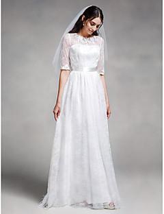 Lanting Bride® Trapèze Robe de Mariage  Longueur Sol Bijoux Dentelle avec Dentelle
