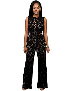Women's Patchwork Lace Wide Leg Sexy Slim Elegance Jumpsuits,Vintage / Street chic Round Neck Sleeveless