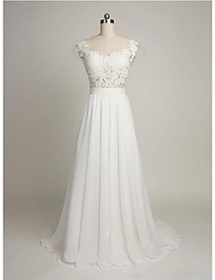 A-line Wedding Dress Beautiful Back Sweep / Brush Train Scoop Chiffon Lace with Appliques Lace