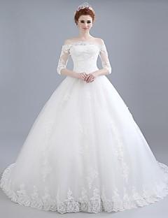 De Baile Vestido de Noiva Cauda Capela Ombro a Ombro Renda / Cetim / Tule com Renda